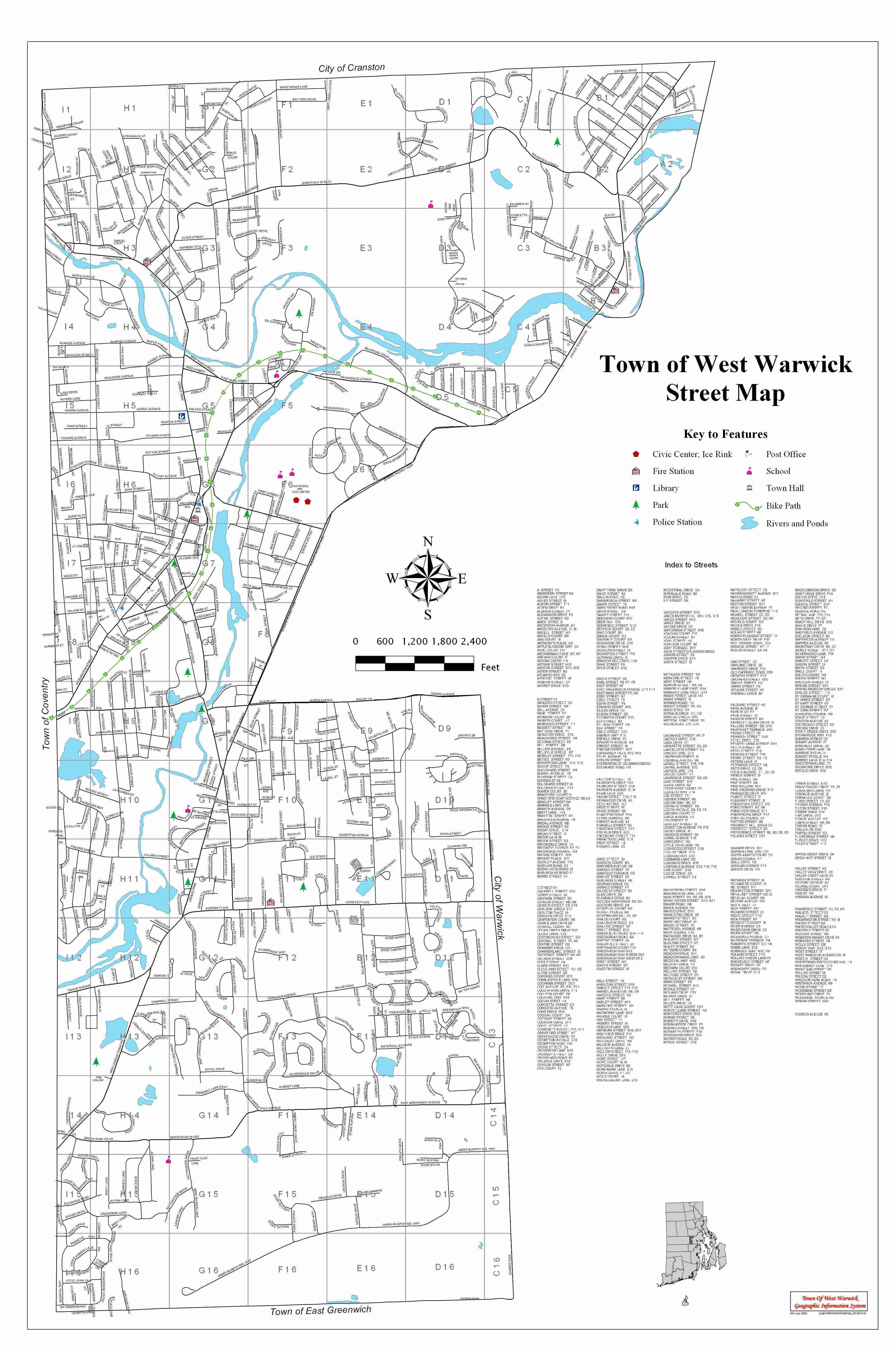 Map Of The Town Of West Warwick West Warwick RI - Map of ri